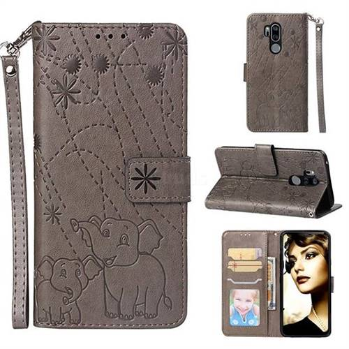 Embossing Fireworks Elephant Leather Wallet Case for LG G7 ThinQ - Gray