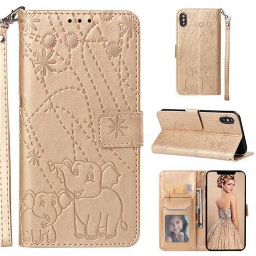 Embossing Fireworks Elephant Leather Wallet Case for LG G7 ThinQ - Golden
