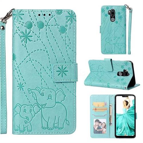 Embossing Fireworks Elephant Leather Wallet Case for LG G7 ThinQ - Green