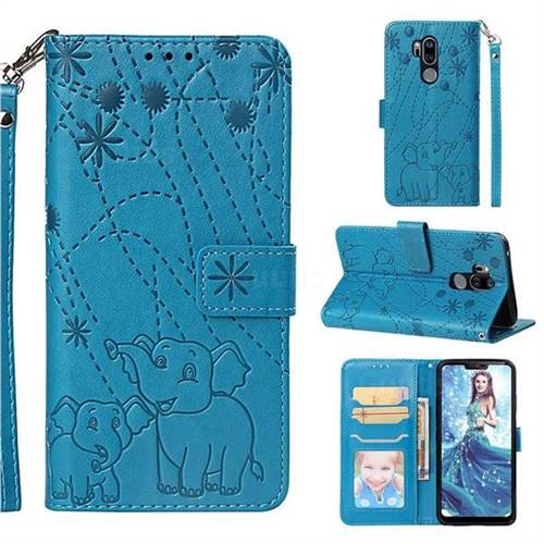 Embossing Fireworks Elephant Leather Wallet Case for LG G7 ThinQ - Blue