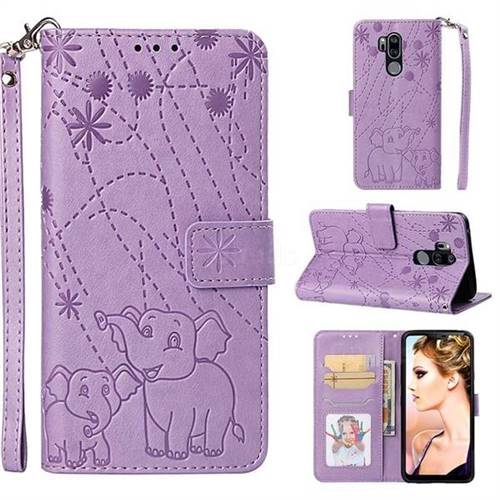 Embossing Fireworks Elephant Leather Wallet Case for LG G7 ThinQ - Purple
