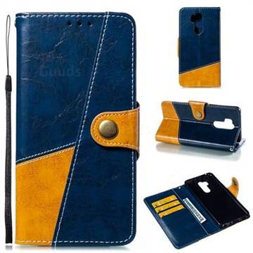 Retro Magnetic Stitching Wallet Flip Cover for LG G7 ThinQ - Blue