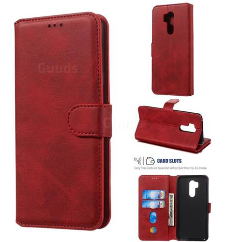 Retro Calf Matte Leather Wallet Phone Case for LG G7 ThinQ - Red - Leather  Case - Guuds