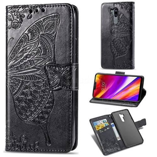 Embossing Mandala Flower Butterfly Leather Wallet Case for LG G7 ThinQ - Black