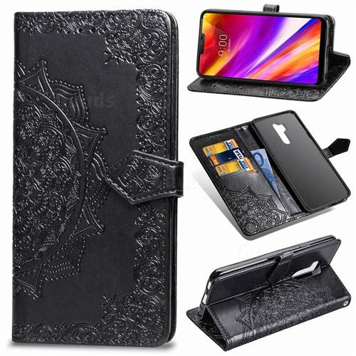 Embossing Imprint Mandala Flower Leather Wallet Case for LG G7 ThinQ - Black