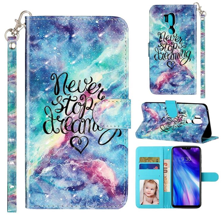 Blue Starry Sky 3D Leather Phone Holster Wallet Case for LG G7 ThinQ