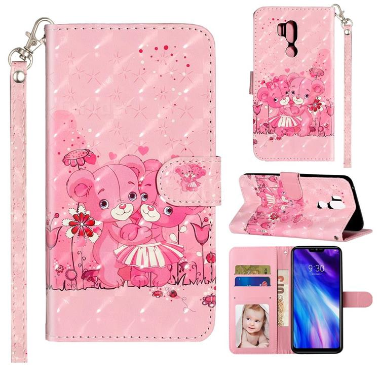 Pink Bear 3D Leather Phone Holster Wallet Case for LG G7 ThinQ
