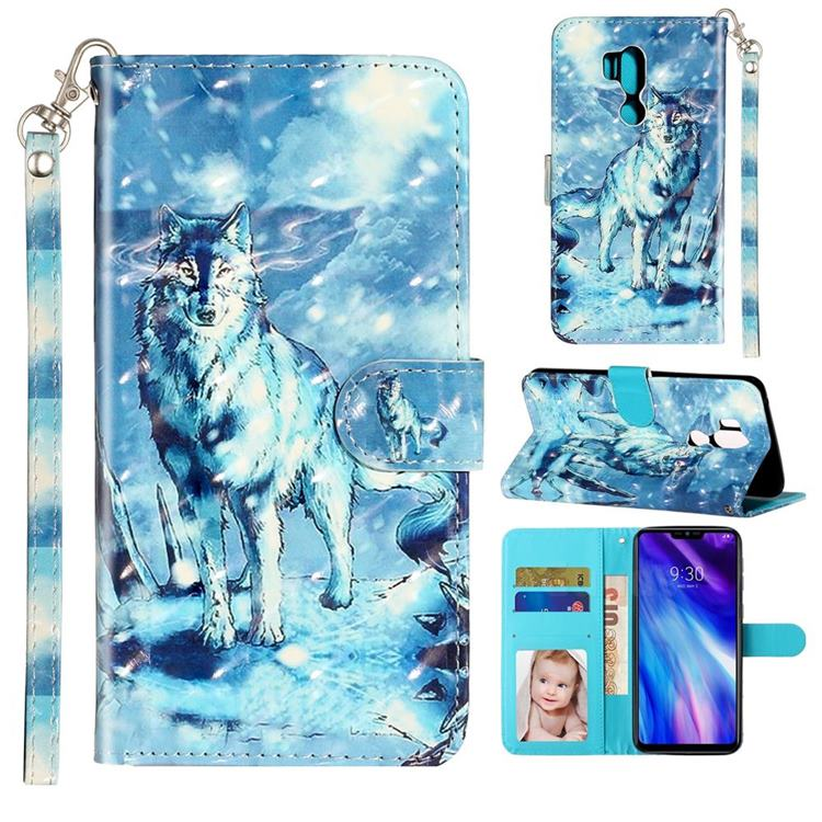Snow Wolf 3D Leather Phone Holster Wallet Case for LG G7 ThinQ
