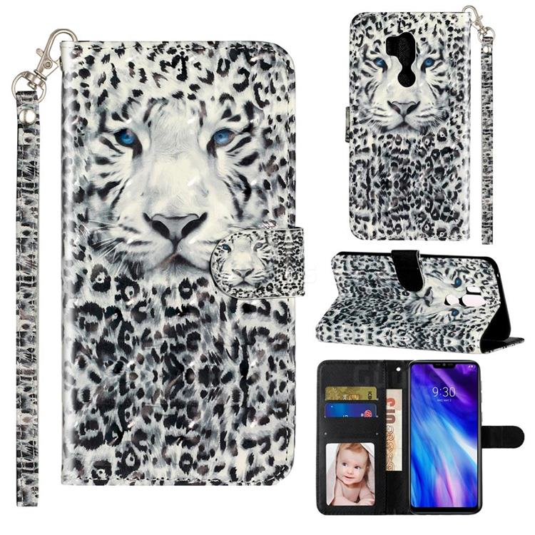 White Leopard 3D Leather Phone Holster Wallet Case for LG G7 ThinQ