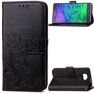 Embossing Imprint Four-Leaf Clover Leather Wallet Case for Samsung Galaxy Alpha G850 - Black