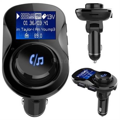 BC28 Bluetooth Wireless FM Transmitter Radio Car Kit MP3 Music Player Dual USB Receiver Hands Free - Black