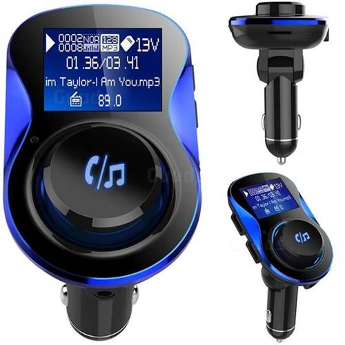 BC28 Bluetooth Wireless FM Transmitter Radio Car Kit MP3 Music Player Dual  USB Receiver Hands Free - Blue - Charger - Guuds