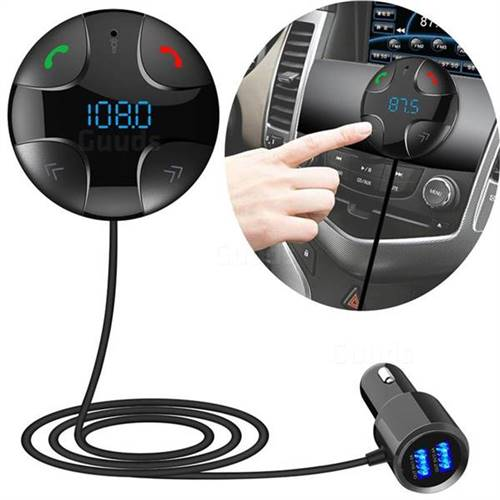 BC29B Blacktooth FM Transmitter Car Kit MP3 Music Player Dual USB Car Charger Hands Free Calling - Black
