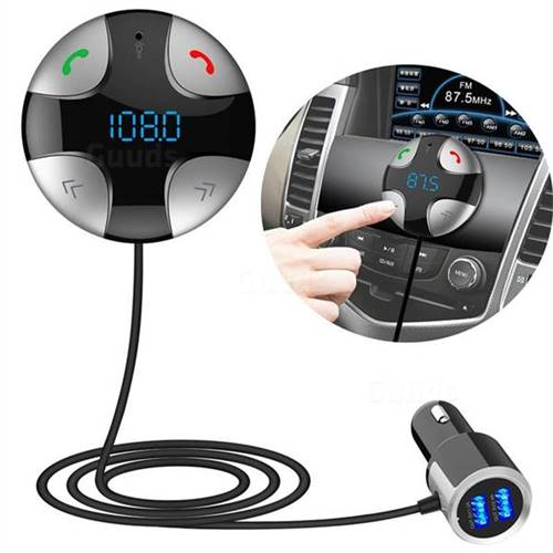BC29B Silvertooth FM Transmitter Car Kit MP3 Music Player Dual USB Car Charger Hands Free Calling - Silver