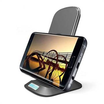YOGEE YC002 3-Coil 10W Wireless Fast Charging Pad Qi Charge Vertical Transmitter Stand - Black
