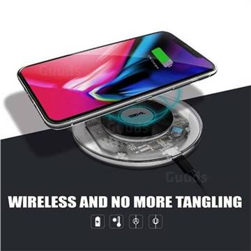 YOGEE YC006 Transparent 5W/7.5W/10W Wireless Fast Charger Pad Qi Charging Pad