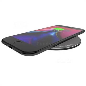 YOGEE YC008 10W Wireless Fast Charger Ultra Thin Matte Aluminum Qi Charging Pad, Black