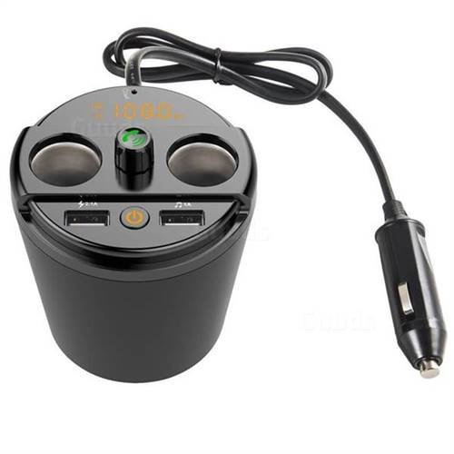 Cup-shaped Multi-function In-Car Bluetooth FM Hands-free Transmitter MP3 Player Dual USB 3.1A Car Charger 401E - Black