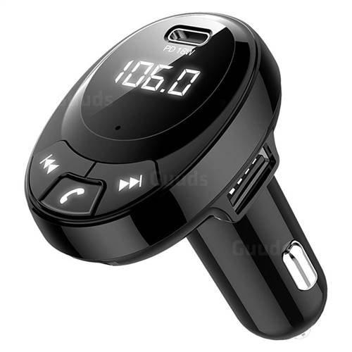 In-Car Bluetooth FM Transmitter Wireless Radio Adapter PD 18W Type-C Charging Port Hands-Free Calling USB Drive TF Card Music Player BT09