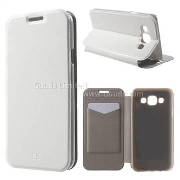 new style 99ba0 8bf7a Crazy Horse PU Leather Flip Cover for Samsung Galaxy E5 E500F E500H - White