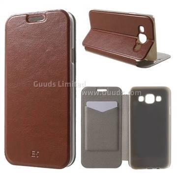 online retailer d3f1b 78f50 Crazy Horse PU Leather Flip Cover for Samsung Galaxy E5 E500F E500H - Brown