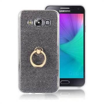 Luxury Soft TPU Glitter Back Ring Cover with 360 Rotate Finger Holder Buckle for Samsung Galaxy E7 E700 E700H E7009 E7000 - Black