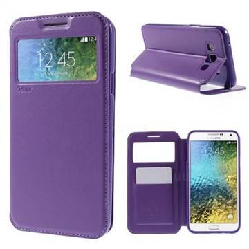 Roar Korea Noble View Leather Flip Cover for Samsung Galaxy E7 E700 E700H E7009 E7000 - Purple