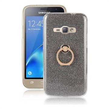 Luxury Soft TPU Glitter Back Ring Cover with 360 Rotate Finger Holder Buckle for Samsung Galaxy J1 2016 J120 - Black