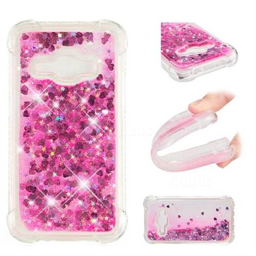 Dynamic Liquid Glitter Sand Quicksand TPU Case for Samsung Galaxy J1 2016 J120 - Pink Love Heart