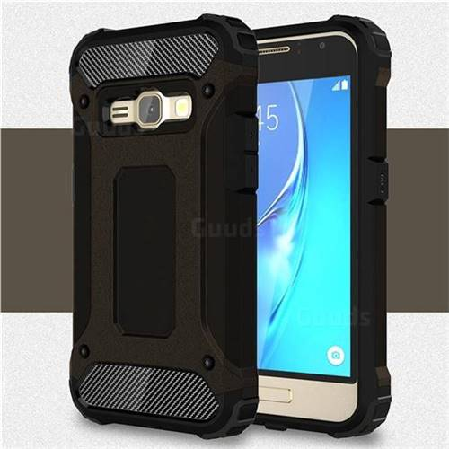 King Kong Armor Premium Shockproof Dual Layer Rugged Hard Cover for Samsung Galaxy J1 2016 J120 - Black Gold