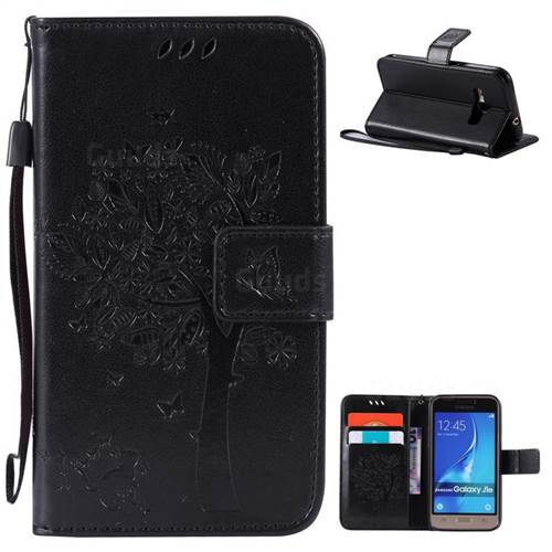 Embossing Butterfly Tree Leather Wallet Case for Samsung Galaxy J1 2016 J120F J120H J120M J120T J120A - Black