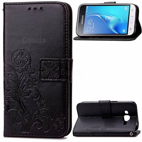 Embossing Imprint Four-Leaf Clover Leather Wallet Case for Samsung Galaxy J1 2016 J120 - Black
