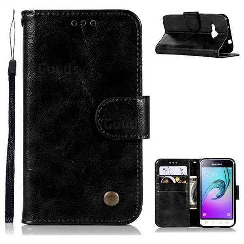 Luxury Retro Leather Wallet Case for Samsung Galaxy J1 2016 J120 - Black