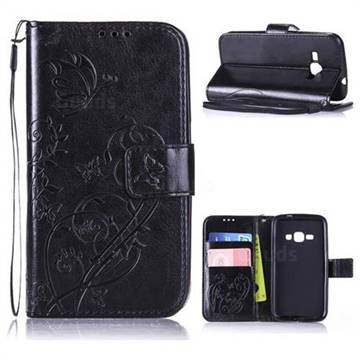 Embossing Butterfly Flower Leather Wallet Case for Samsung Galaxy J1 2016 J120 - Black