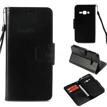 Retro Phantom Smooth PU Leather Wallet Holster Case for Samsung Galaxy J1 2016 J120 - Black