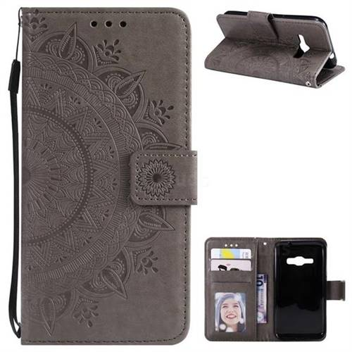 Intricate Embossing Datura Leather Wallet Case for Samsung Galaxy J1 2016 J120 - Gray