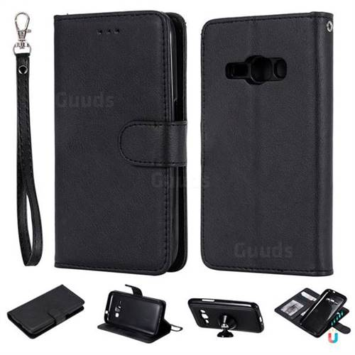 Retro Greek Detachable Magnetic PU Leather Wallet Phone Case for Samsung Galaxy J1 2016 J120 - Black