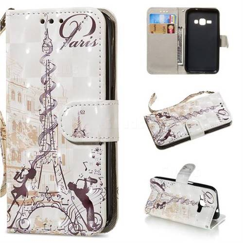 Tower Couple 3D Painted Leather Wallet Phone Case for Samsung Galaxy J1 2016 J120