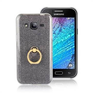 Luxury Soft TPU Glitter Back Ring Cover with 360 Rotate Finger Holder Buckle for Samsung Galaxy J2 J200 - Black