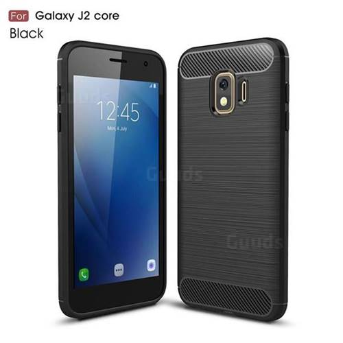 Luxury Carbon Fiber Brushed Wire Drawing Silicone TPU Back Cover for Samsung Galaxy J2 Core - Black