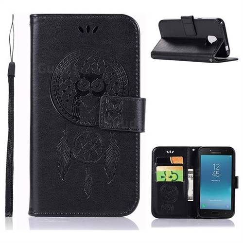 Intricate Embossing Owl Campanula Leather Wallet Case for Samsung Galaxy J2 Core - Black