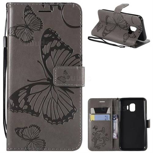Embossing 3D Butterfly Leather Wallet Case for Samsung Galaxy J2 Core - Gray