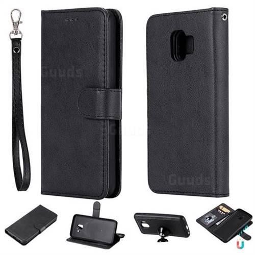 Retro Greek Detachable Magnetic PU Leather Wallet Phone Case for Samsung Galaxy J2 Core - Black
