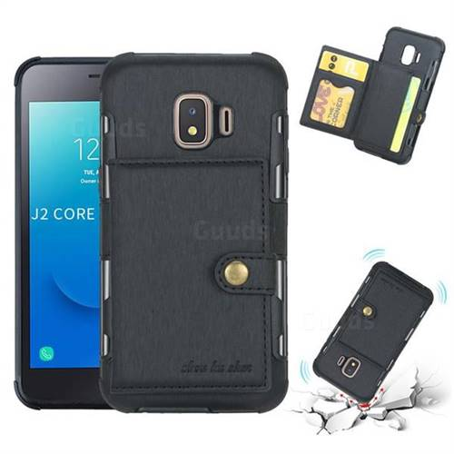 Brush Multi-function Leather Phone Case for Samsung Galaxy J2 Core - Black