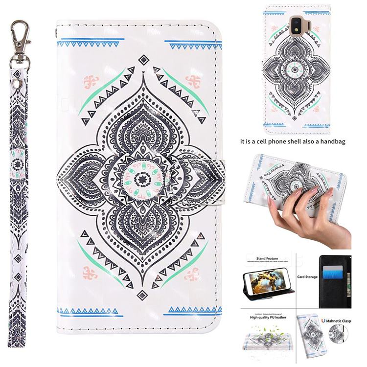 Mandala Totem 3D Painted Leather Wallet Case for Samsung Galaxy J2 Core