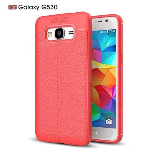 Luxury Auto Focus Litchi Texture Silicone TPU Back Cover for Samsung Galaxy J2 Prime G532 - Red
