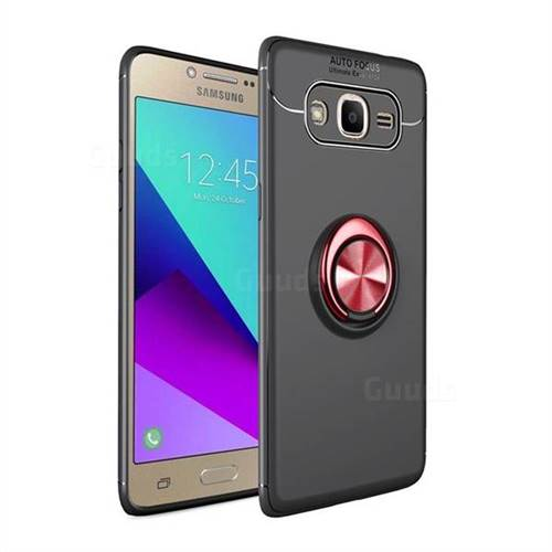Auto Focus Invisible Ring Holder Soft Phone Case for Samsung Galaxy J2 Prime G532 - Black Red