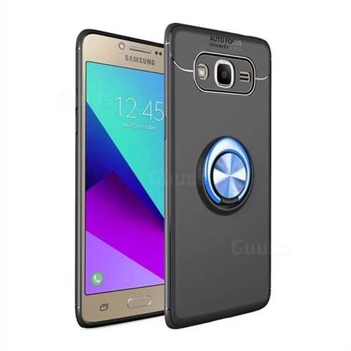 Auto Focus Invisible Ring Holder Soft Phone Case for Samsung Galaxy J2 Prime G532 - Black Blue
