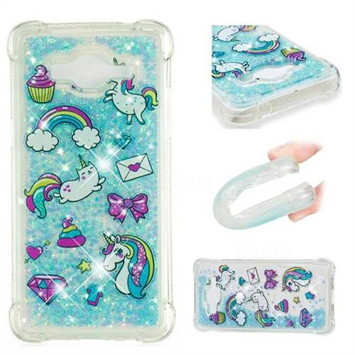 Fashion Unicorn Dynamic Liquid Glitter Sand Quicksand Star TPU Case for Samsung Galaxy J2 Prime G532