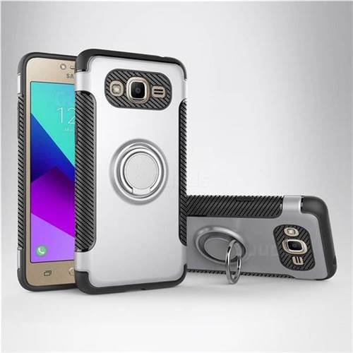 Armor Anti Drop Carbon PC + Silicon Invisible Ring Holder Phone Case for Samsung Galaxy J2